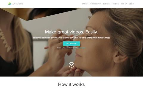 Screenshot of Home Page animoto.com - Animoto - Video Maker & Photo Slideshow Maker | Animoto - captured Sept. 20, 2015
