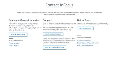 Screenshot of Contact Page infocus.com - InFocus | Visualization and Collaboration Solutions - captured June 10, 2017