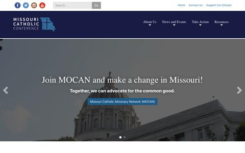 Screenshot of Home Page mocatholic.org - Missouri Catholic Conference | The public policy agency for the Catholic Church in Missouri. - captured Nov. 15, 2018