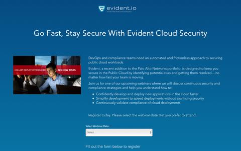 Screenshot of Landing Page evident.io - Go Fast, Stay Secure With Evident Cloud Security - Webinar - captured April 9, 2018