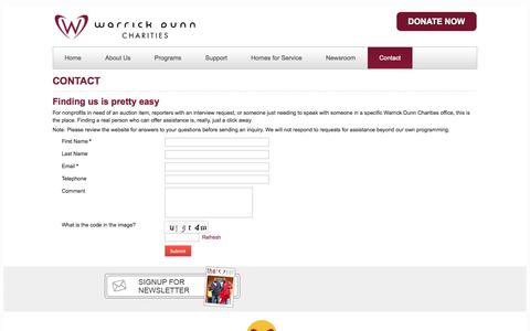 Screenshot of Contact Page wdc.org - Contact Warrick Dunn Charities - captured Oct. 7, 2014