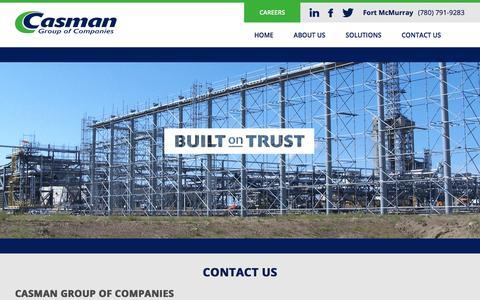 Screenshot of Contact Page casman.ca - Casman | Contact Us - captured Jan. 26, 2016