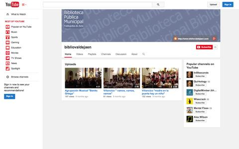Screenshot of YouTube Page youtube.com - bibliovaldejaen  - YouTube - captured Oct. 23, 2014