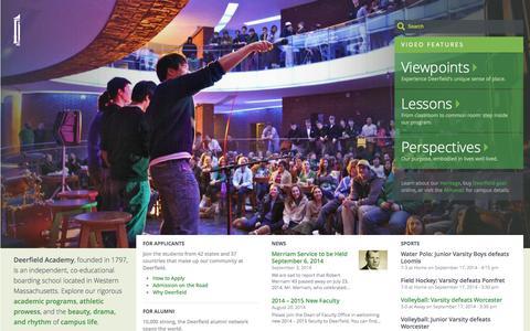 Screenshot of Home Page deerfield.edu - Deerfield Academy   Deerfield Academy - captured Sept. 19, 2014