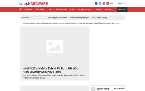 Screenshot of Home Page tomshardware.com - Tom's Hardware: For The Hardcore PC Enthusiast - captured Oct. 11, 2019