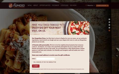 Screenshot of Home Page famoso.ca - Famoso Neapolitan Pizzeria | ON, BC, AB, SK - captured Sept. 30, 2016
