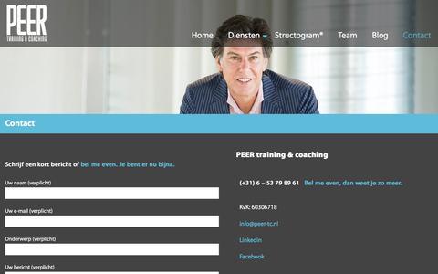 Screenshot of Contact Page peer-tc.nl - Contact - PEER training & coaching - captured Jan. 24, 2016