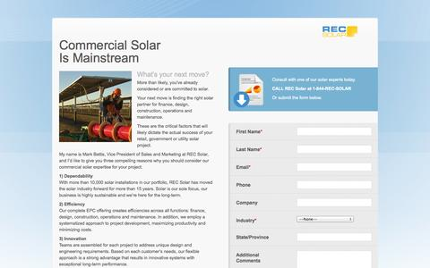 Screenshot of Landing Page recsolar.com - Commercial Solar Is Mainstream  | REC Solar - captured Oct. 27, 2014