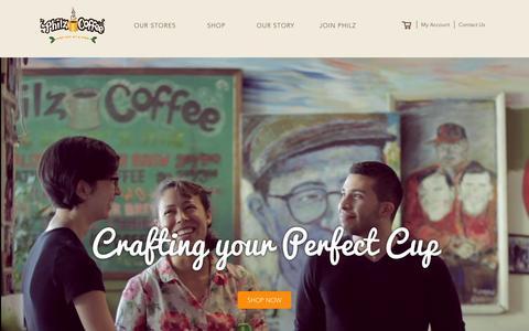 Screenshot of Home Page philzcoffee.com - Philz Coffee - captured Feb. 22, 2016