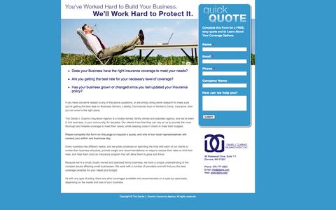 Screenshot of Landing Page djgins.com - Guarino Insurance Business Policies - captured Oct. 27, 2014