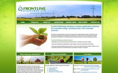 Screenshot of Home Page frontlinebioenergy.com - Frontline BioEnergy - biomass energy, biomass gasification, waste to energy. - captured Oct. 6, 2014