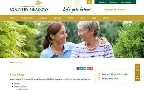 Screenshot of Site Map Page countrymeadows.com - Site Map   Country Meadows Retirement Communities - captured July 21, 2018