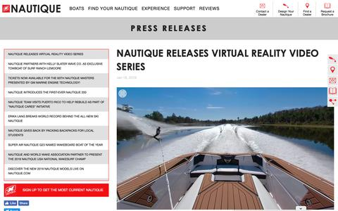 Screenshot of Press Page nautique.com - Nautique Wake Boats, Ski Boats, Water Skiing, Wake Surfing and Wakeboarding Boats by Correct Craft - captured Jan. 19, 2019
