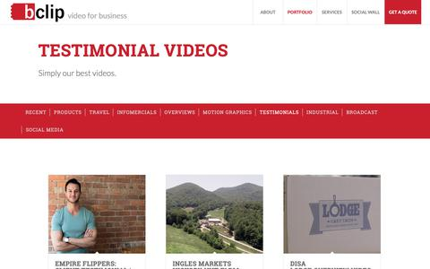 Screenshot of Testimonials Page bclip.com - Testimonial Videos | Bclip Productions - captured Oct. 5, 2018