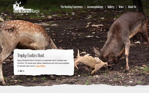 Screenshot of Home Page bw-ranch.com - Home - Bang Whitetail Ranch - captured Feb. 7, 2016