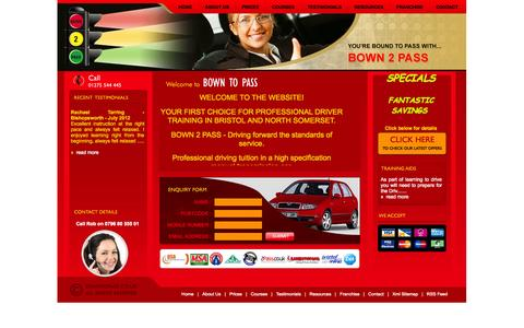 Screenshot of Home Page bown2pass.co.uk - BOWN 2 PASS Driving School | Driving lessons Bristol, Driving schools Bristol, Driving Instructors Bristol Learn to drive Intensive driving courses - captured Oct. 4, 2014