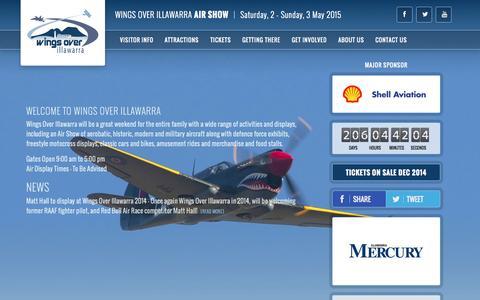 Screenshot of Home Page wingsoverillawarra.com.au - Wings Over Illawarra 2015 - TICKETS ON SALE DEC 2014 - captured Oct. 7, 2014