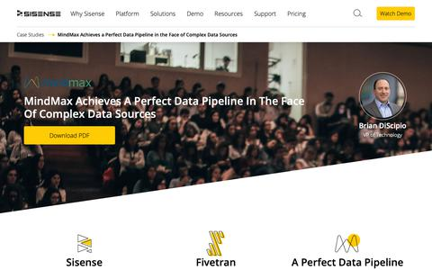 Screenshot of Case Studies Page sisense.com - MindMax Achieves a Perfect Data Pipeline in the Face of Complex Data Sources | Sisense - captured May 2, 2019