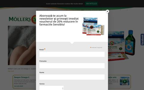 Screenshot of Home Page mollers.ro - Home - Moller's Romania – Calitate și puritate de la prima la ultima picătură - captured Oct. 18, 2016