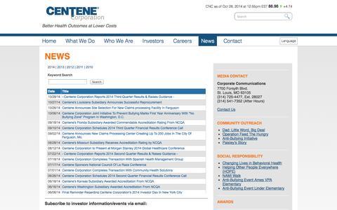 Screenshot of Press Page centene.com - Centene News » Centene - captured Oct. 28, 2014