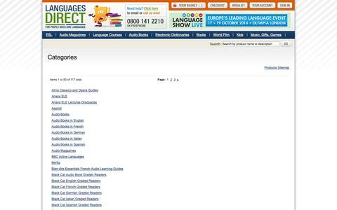 Screenshot of Site Map Page languages-direct.com - Languages Direct - captured Sept. 25, 2014