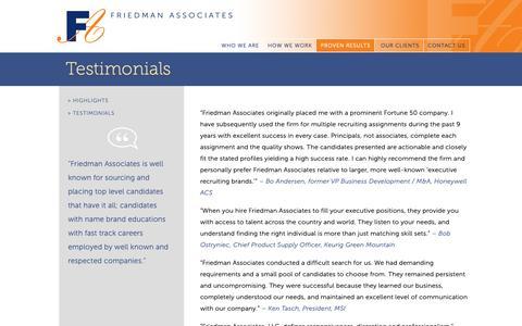 Screenshot of Testimonials Page friedmanassoc.com - Testimonials - captured Oct. 11, 2018