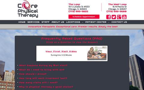 Screenshot of FAQ Page coreptclinics.com - Core Physical Therapy - captured Nov. 2, 2014
