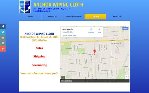 Screenshot of Privacy Page Contact Page anchorwipingcloth.com - Contact Us - captured Oct. 23, 2014