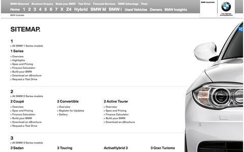 Screenshot of Site Map Page bmw.com.au - Sitemap - BMW Australia - captured Sept. 22, 2014