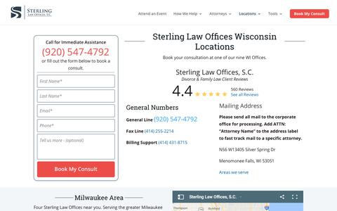 Screenshot of Contact Page Locations Page sterlinglawyers.com - Wisconsin Locations | Sterling Law Offices, S.C. - captured July 7, 2018