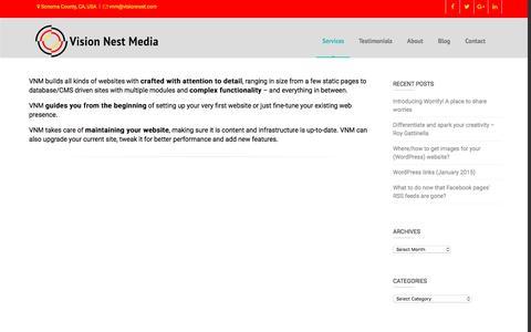 Screenshot of Services Page visionnest.com - Services – Website Building and Maintenance – Vision Nest Media - captured Dec. 14, 2016