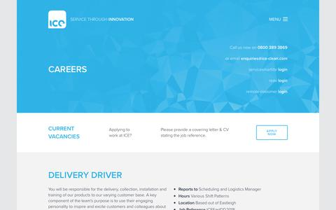 Screenshot of Jobs Page ice-clean.com - Careers | Industrial Cleaning Equipment Ltd. - captured Oct. 11, 2018