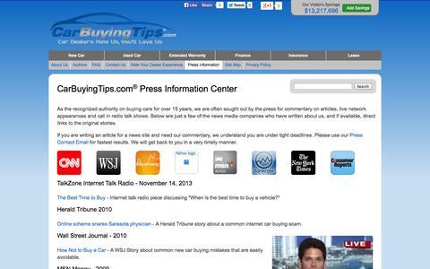 Screenshot of Press Page carbuyingtips.com - CarBuyingTips.com - Press Releases - captured Nov. 1, 2014