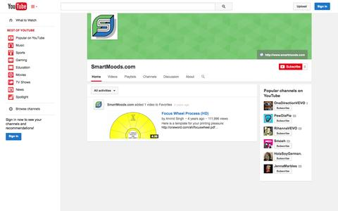 Screenshot of YouTube Page youtube.com - SmartMoods.com  - YouTube - captured Oct. 23, 2014