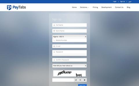 Screenshot of Signup Page paytabs.co - PayTabs - Simple & Trusted Payments - captured Oct. 10, 2014