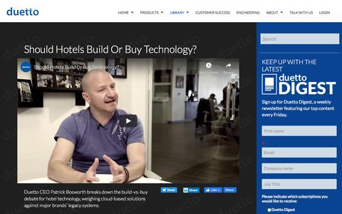 Screenshot of Pricing Page duettocloud.com - Should Hotels Build or Buy Technology? - captured Jan. 6, 2020