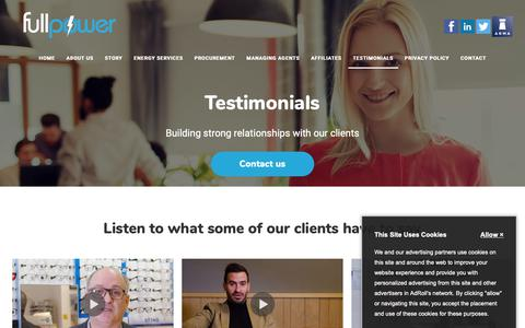 Screenshot of Testimonials Page fullpowerutilities.com - Full Power Clients | Testimonials - captured Oct. 11, 2018
