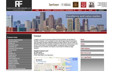 Screenshot of Contact Page Maps & Directions Page rflawyers.com - Contact | Rudolph Friedmann LLPContact - captured Oct. 26, 2014