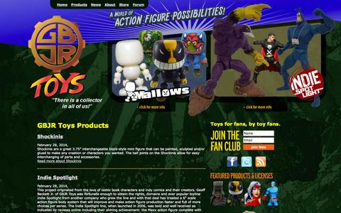 Screenshot of Products Page gbjrtoys.com - GBJR Toys Products - captured Sept. 19, 2014