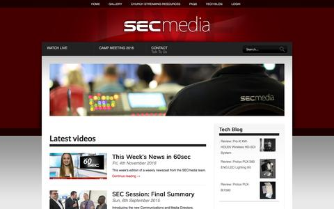 Screenshot of Home Page secmedia.org - SECmedia | bringing the church to you - captured April 1, 2017