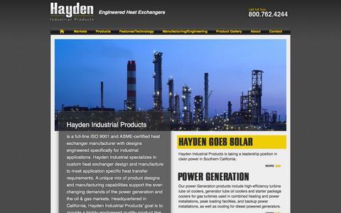 Screenshot of Home Page haydenindustrial.com - Hayden Industrial Products - captured Oct. 2, 2014