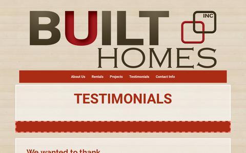 Screenshot of Testimonials Page builthomes.ca - BUILT | Testimonials - captured Nov. 6, 2018