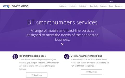 Screenshot of Products Page btsmartnumbers.com - Products - BT smartnumbers - captured July 28, 2016
