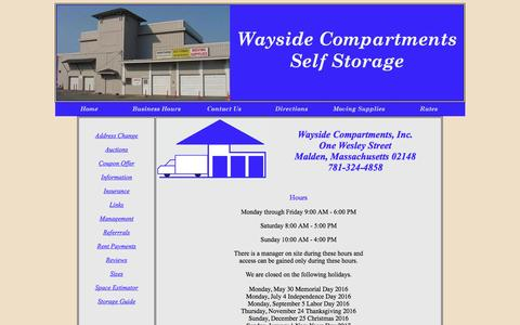 Screenshot of Hours Page waysidecompartments.com - Wayside Compartments - Self Storage - Malden MA - Revere MA - Hours - captured June 23, 2016