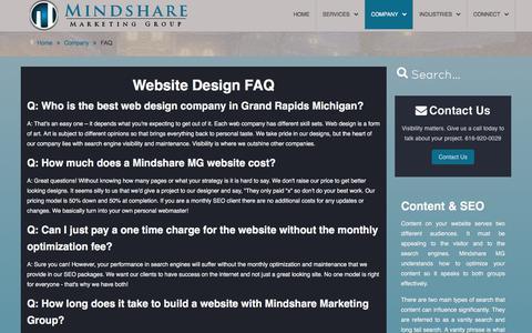 Screenshot of FAQ Page mindsharemg.com - Website Design FAQ | Website Company Grand Rapids, MI - captured Feb. 13, 2016