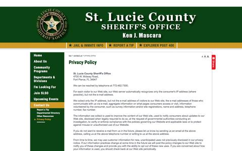 Screenshot of Privacy Page stluciesheriff.com - St. Lucie Sheriff's Office - Privacy Policy - captured Dec. 1, 2016