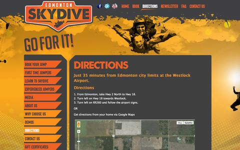 Screenshot of Maps & Directions Page edmontonskydive.com - Directions | Edmonton Skydive - captured Sept. 29, 2014
