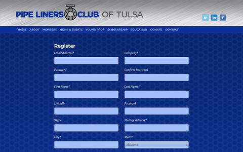 Screenshot of Signup Page tulsapipeliners.org - Register            |             Pipeliners Club of Tulsa - captured May 30, 2019