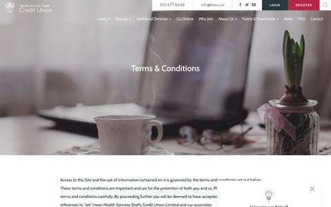 Screenshot of Terms Page hsscu.ie - Terms & Conditions – HSSCU - captured Sept. 27, 2018