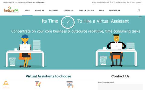 Screenshot of Home Page indianva.com - Virtual Assistant Services Company | Executive Assistants - captured Sept. 13, 2018